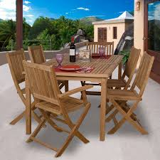teak outdoor dining chairs. International Home Amazonia Teak 7-Piece Brown Wood Frame Patio Dining Set Outdoor Chairs N