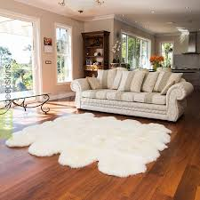 large octo sheepskin rug in ivory white color
