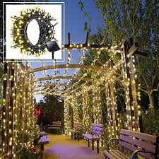 solar led string lights outdoor warm white lights 200 leds 8 modes 72ft with dusk to dow