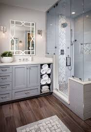 elegant wooden laminate floor with grey vanity and simple paint for best and classic sink design