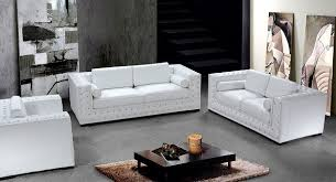 Small Picture Luxurious White Leather w Crystals Sofa Set