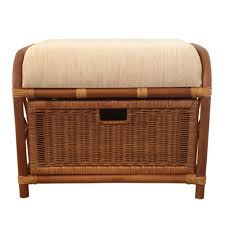 ottoman storage jerry 1box color light brown with cushion rattan wicker home furniture