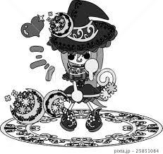 お洒落で可愛い魔法使いの女の子のイラストのイラスト素材 25851084