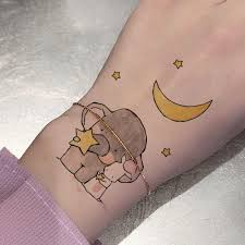 детские наклейки с милым мультяшным рисунком для татуировки полумесяц звезды