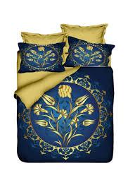 3 piece printed duvet cover set cotton blend blue gold double
