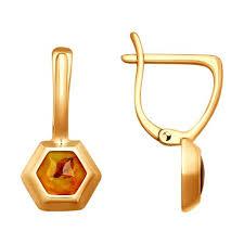 <b>Серьги</b> из <b>золочёного</b> серебра с янтарём <b>SOKOLOV</b> – купить в ...