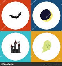 хэллоуин плоский значок набор крепость полумесяца суеверие и