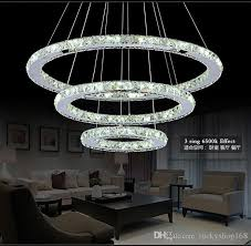 wonderful crystal light fixtures 3 rings crystal led chandelier pendant light fixture crystal light