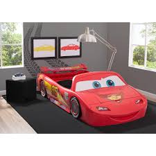 Lightning Mcqueen Bedroom Furniture Disney Pixar Cars Convertible Toddler To Twin Bed With Lights And