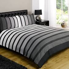 just contempo striped duvet cover set king grey co uk kitchen home