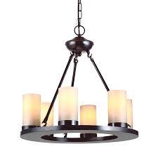 sea gull lighting ellington 21 in 6 light burnt sienna rustic tinted glass candle