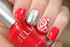 Red & White Ikat Nail Art - volleysparkle