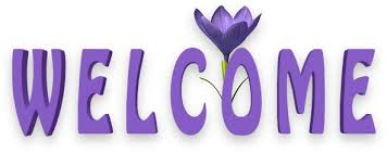 Welcome Purple Purple Welcome Purple Welcome With A Purple Flower Clip