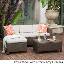 christopher knight home puerta grey outdoor wicker sofa set. Outdoor Puerta PE Wicker L-shaped Sectional 5-piece Sofa Set With Cushions By Christopher Knight Home Grey