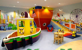 Chic Nautical Playroom Ideas With Colorful Boat Also Mini Table Set As Well  As Ceiling Lamps As Modern Kids Room Designs