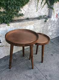 round nesting tables inside wood and copper sunbeam vintage prepare 10