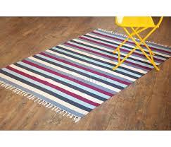 4 x6 handmade striped cotton rug blue grey white stripes flat weave