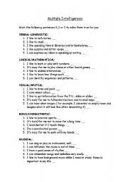 multiple test english worksheets multiple intelligences test