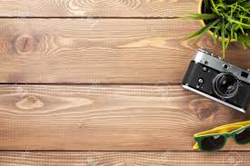 office desk table tops. Camera, Sunglasses And Flower On Office Wooden Desk Table. Top View With Copy Space Table Tops