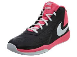 nike basketball shoes for girls. kids team hustle d 7 (gs) basketball shoe made by nike. these brand name shoes are with traction and support in mind. nike for girls 0