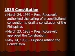 Image result for Roosevelt approved the Philippine constitution on March 23, 1935