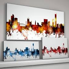 manchester skyline cityscape canvas on manchester skyline wall art with manchester skyline cityscape by artpause notonthehighstreet