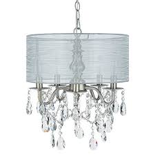 luna silver 5 light crystal chandelier with drum shade glass beaded swag plug in pendant wrought iron cylinder shaded ceiling lighting fixture lamp
