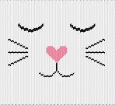 Cat Knitting Chart Knitting Motif And Knitting Chart Cat With Heart Nose