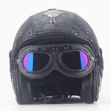 open face half leather helmet harley moto motorcycle helmet vintage motorbike vespa motocross capacete chopper bike black malaysia