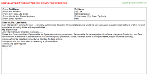 Computer Operator Job Application Letter