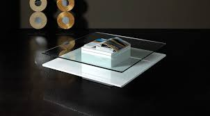 emulsion modern white glass coffee table with storage hk22a
