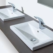 ideas enchanting bathroom sinks and faucets ideas using rectangular semi recessed basin including polished chrome taps