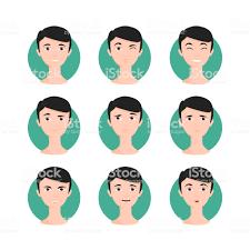 黒い髪の男イラスト セット アイコンのベクターアート素材や画像を多数