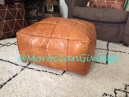 camel <b>brown</b> genuine leather moroccan <b>pouf pouffe handmade</b> ...