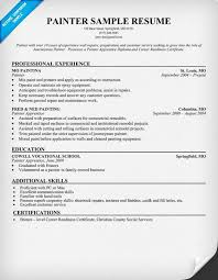 Painter Resume Sample Marketing Resume Examples Sample Resumes Apamdns