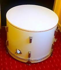 upcycled white bass drum coffee table