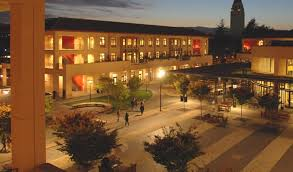 stanford graduate school of business. knight management center at night stanford graduate school of business o