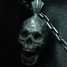 open full jaw pendant with chain 925 sterling silver skull pendant