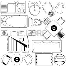 Icons Simple Furniture Floor Plan Outline Royalty Free Cliparts Furniture Clipart For Floor Plans