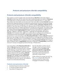 Protonix And Potassium Chloride Compatibility