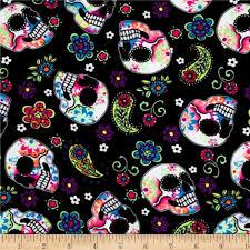 Sugar Pine Design Fabric Pine Crest Fabrics Sugar Skulls Athletic Knit Black And