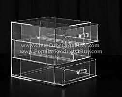 acrylic clear cube makeup organizer w 3drawers display