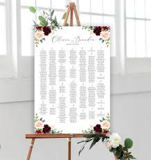 Aragon Seating Chart Printable Wedding Seating Chart Template Up To 400 Guests Seating Board Wedding Seating Chart Sign Large Seating Chart Printable Burgundy