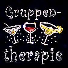 Elegantes Damen Shirt Party Sprüche Alkohol Gruppentherapie Strass