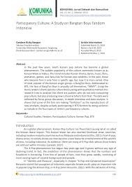 (PDF) Participatory Culture: A Study On <b>Bangtan Boys</b> Fandom ...