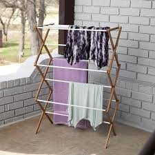 Collapsible Bamboo Clothes Dryer with Plastic Covered Drying Rods