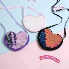 FL   <b>Sequin Lanyard Bag</b> Heart Shape Children Coin <b>Purse</b> ...