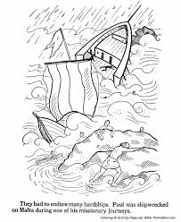 The Apostles Coloring Pages Paul Shipwrecked On Malta Bible