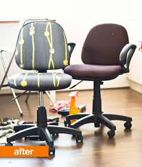 office chair upholstery. Instructables User Graceduval Disassembled A Pair Of Old Task Chairs And Then Used About $5 Worth Fabric, Secured With Staples, To Cover The Worn Brown Office Chair Upholstery O