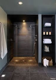 replacing bathtub with walk in shower cost. relaxing walk in shower with pebble flooring and two rain heads for extra comfort! replacing bathtub cost o